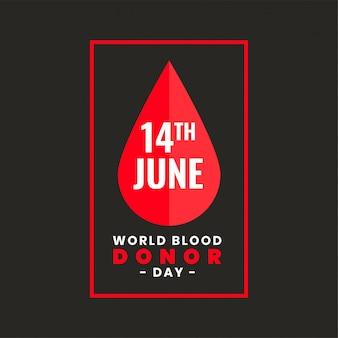 Design del poster per la giornata mondiale dei donatori di sangue