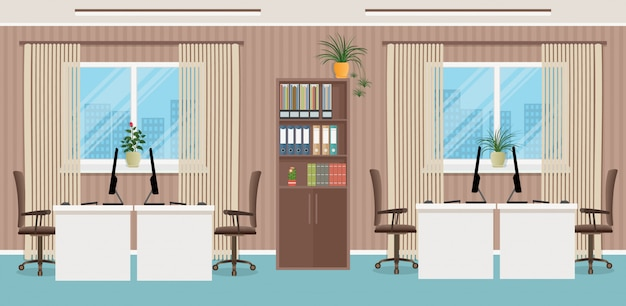 Design del posto di lavoro con quattro posti di lavoro e mobili per ufficio come tavoli