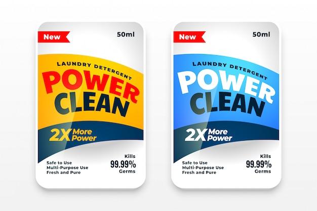 Design del set di etichette detergente detergente o disinfettante