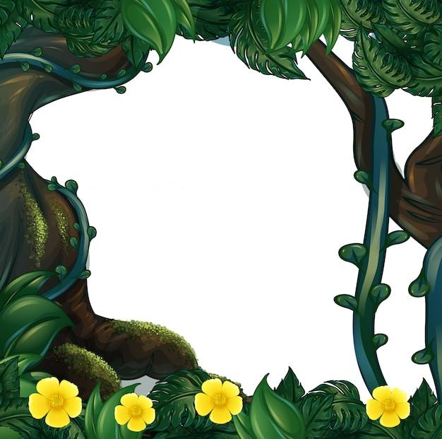 Design del telaio con fiori e alberi