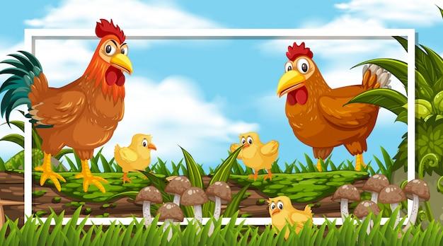 Design del telaio con gallo e pulcini sul tronco