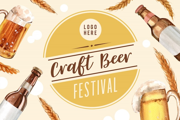 Design del telaio dell'oktoberfest con elementi dell'acquerello di birra, grano e orzo.