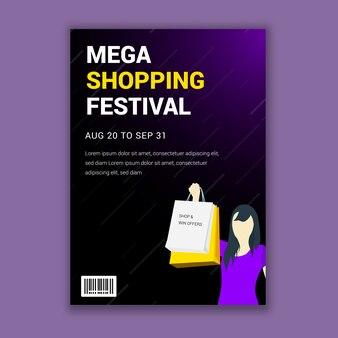 Design del volantino del festival dello shopping mega
