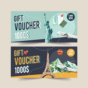Design del voucher turistico con the statue of liberty, eifel tower.
