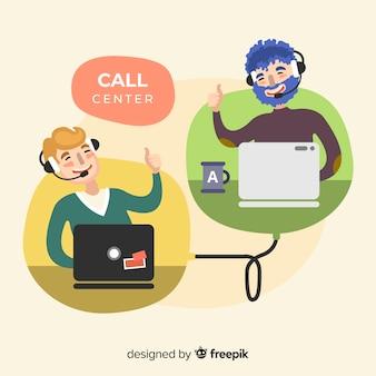 Design dell'agente call center in stile piatto