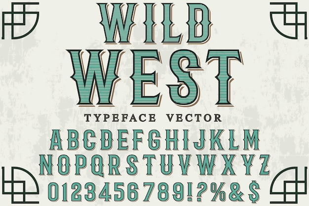 Design dell'etichetta carattere wild west