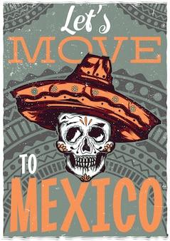 Design dell'etichetta della maglietta con illustrazione del teschio messicano in sombrero