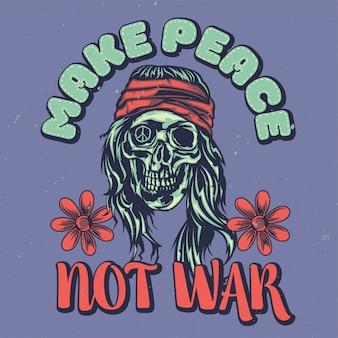 Design dell'etichetta della maglietta con illustrazione di hippie morto