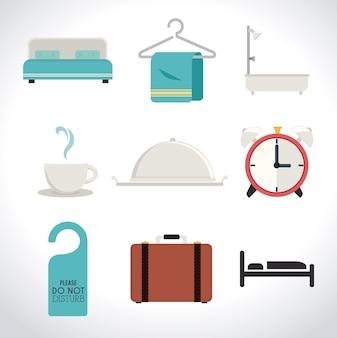 Design dell'hotel, illustrazione vettoriale.
