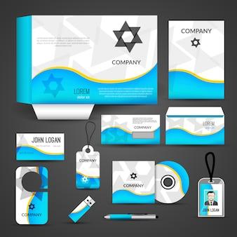 Design dell'identità aziendale, modello di branding. biglietto da visita, copertina, busta, cd, dvd, usb, carta d'identità, cartella