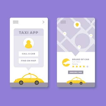 Design dell'interfaccia dell'app taxi