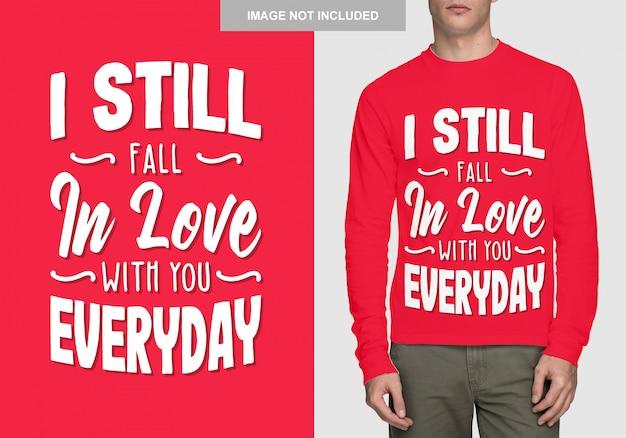 Design della camicia con scritte. tipografia romance