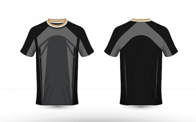 Design della camicia e-sport con layout nero e grigio
