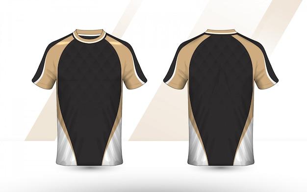 Design della camicia e-sport con layout oro, bianco e nero