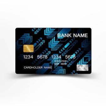 Design della carta di credito a colori blu e nero.