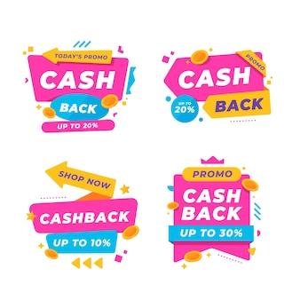Design della collezione di etichette cashback