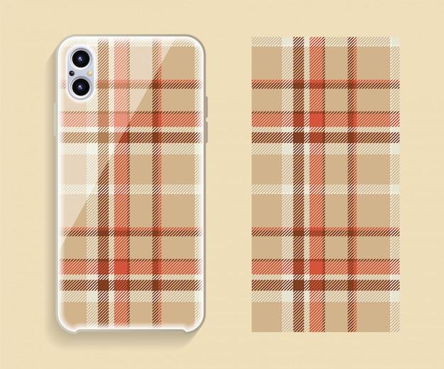 Design della cover dello smartphone, motivo geometrico per la parte posteriore del telefono cellulare. design piatto.