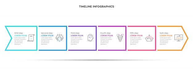 Design della freccia infografica con 6 opzioni o passaggi. infografica per il concetto di business.