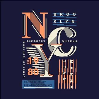 Design della maglietta di tipografia a righe grafiche di brooklyn, new york