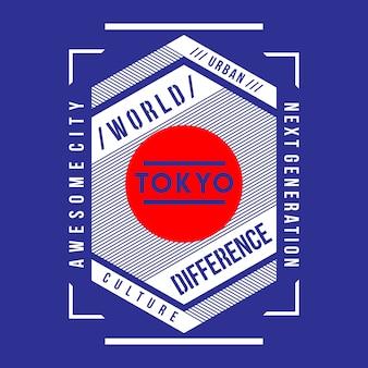 Design della maglietta di tipografia giapponese tokyo
