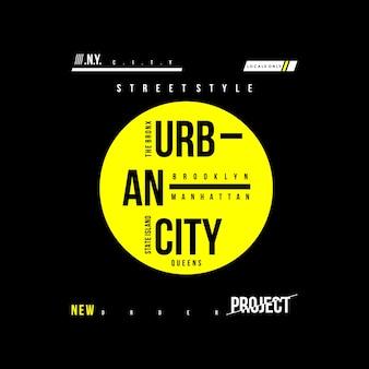 Design della maglietta di tipografia urbana della città
