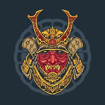 Design della maglietta giapponese oni warrior