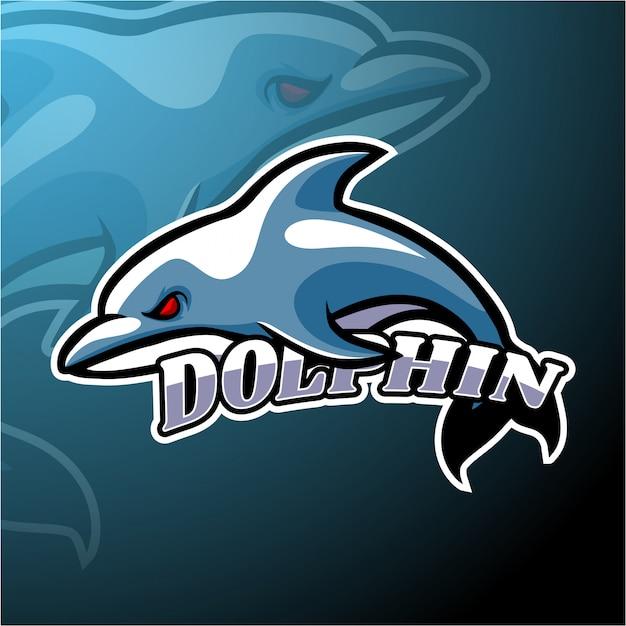 Design della mascotte con logo dolphin esport