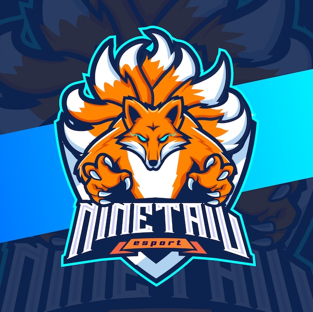 Design della mascotte della volpe di nove coda esport logo
