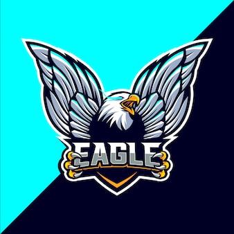 Design della mascotte eagle logo esport