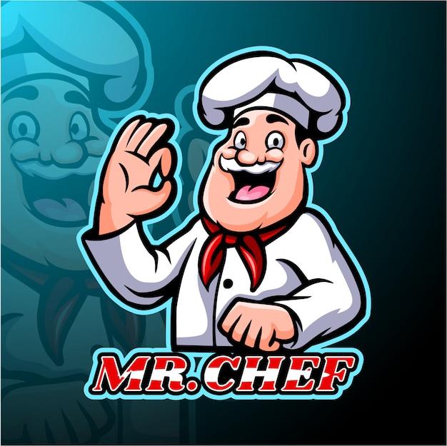 Design della mascotte logo chef esport