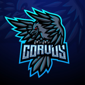 Design della mascotte logo corvus esport