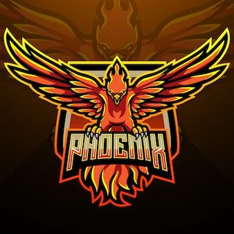 Design della mascotte logo phoenix esport
