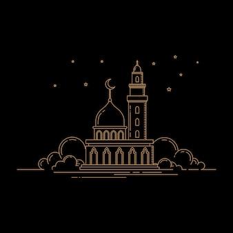 Design della moschea in stile piatto