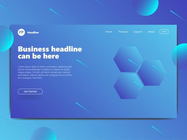 Design della pagina di destinazione basato sul concetto di modello blu