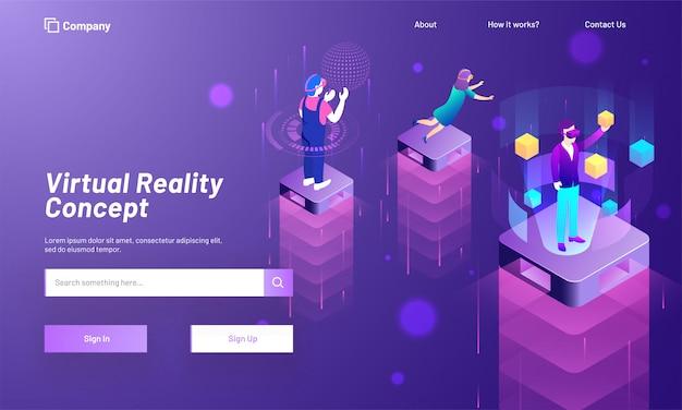 Design della pagina di destinazione basato sul concetto di realtà virtuale.
