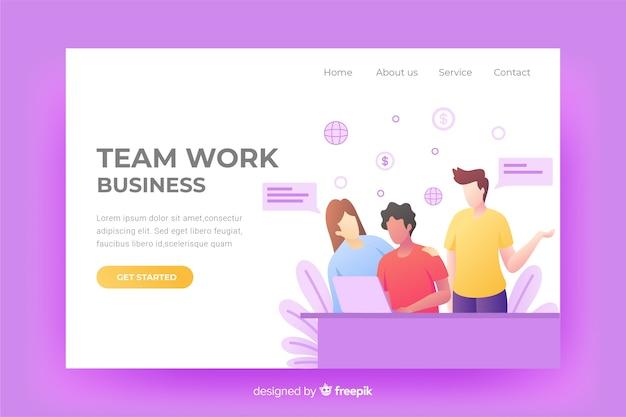 Design della pagina di destinazione del lavoro di squadra digitale