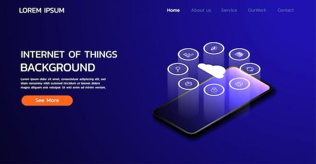 Design della pagina di destinazione del sito web. internet delle cose sullo sfondo