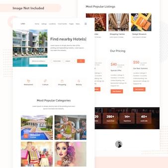 Design della pagina di destinazione dell'interfaccia utente dell'hotel.