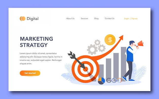 Design della pagina di destinazione della strategia di marketing