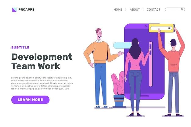 Design della pagina di destinazione per lo sviluppo di app