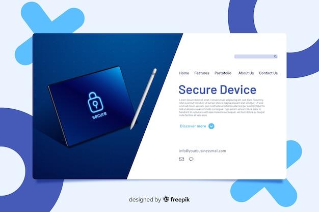 Design della pagina di destinazione per un servizio sicuro