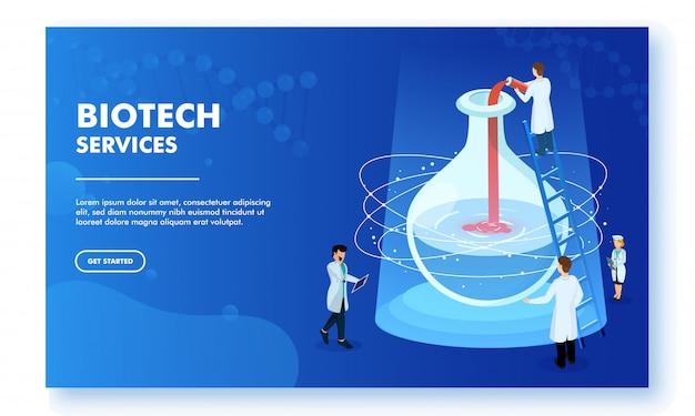 Design della pagina di destinazione reattivo del servizio biotech