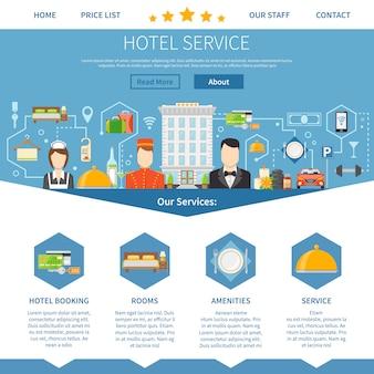 Design della pagina di servizio alberghiero