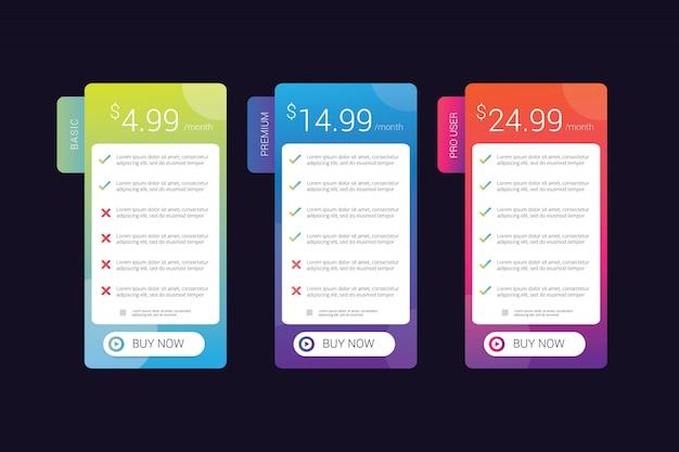 Design della tabella dei prezzi con colori sfumati vivaci, ideale per ui ui degli elementi del modello di sito web