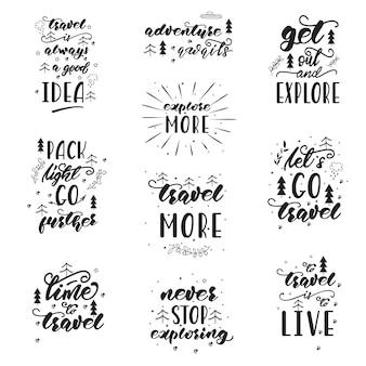 Design delle lettere con frasi di viaggio