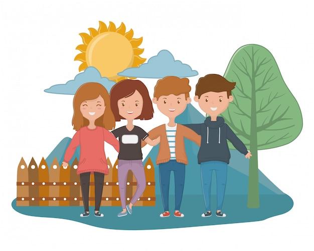 Design di amicizia per ragazze e ragazzi