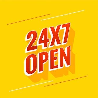 Design di banner aperto tutti i giorni 24 ore su 24 e 7 giorni su 7
