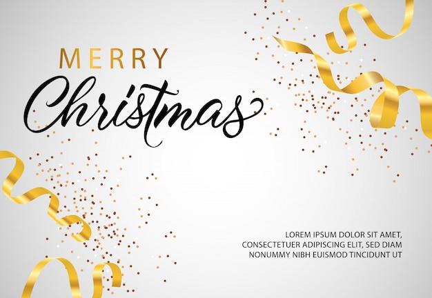 Design di banner di buon natale con streamer dorato