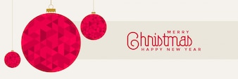 Design di banner di Natale con decorazione di palle rosse