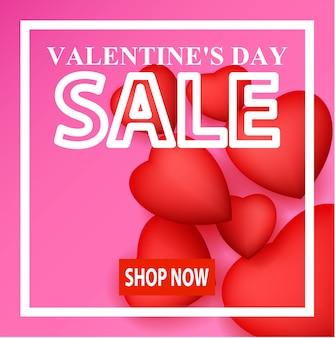 Design di banner di vendita di san valentino, acquista ora